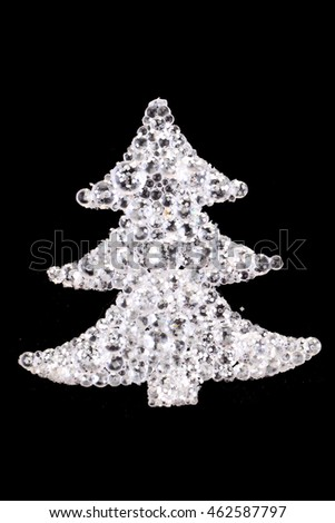 christmas tree decoration isolated on the black background