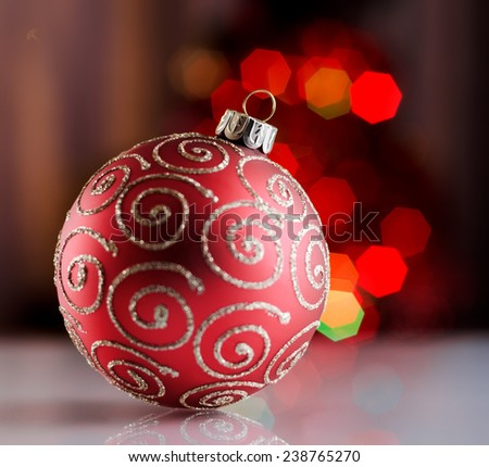 Christmas tree decoration on abstract light background - stock photo