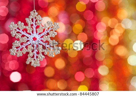 Christmas tree decoration on lights background - stock photo