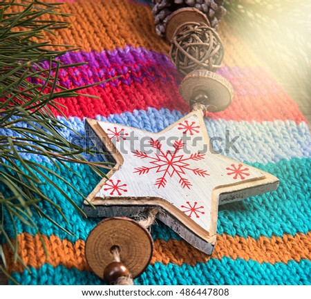 Christmas tree decoration snowflake woolen texture background new year