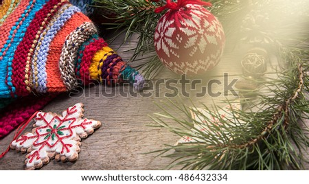 Christmas tree decoration snowman wooden texture background woolen warm colorful hat new year