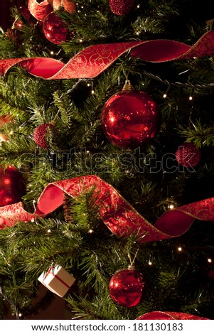 Christmas Tree Decoration with Ornaments Lights Closeup