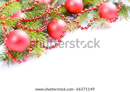christmas tree decoration with red balls and beads. border design