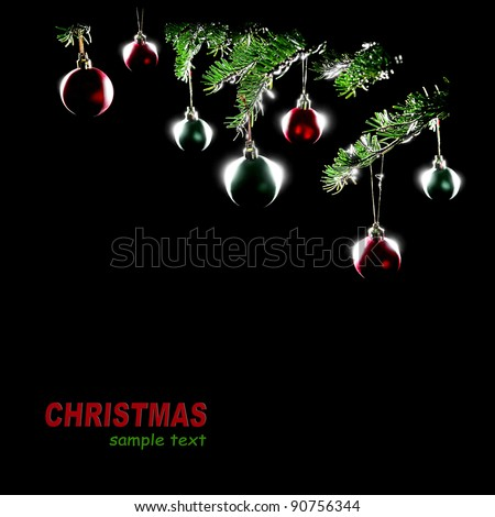 Christmas tree decorations balls baubles isolated on black background. Xmas ornament - stock photo