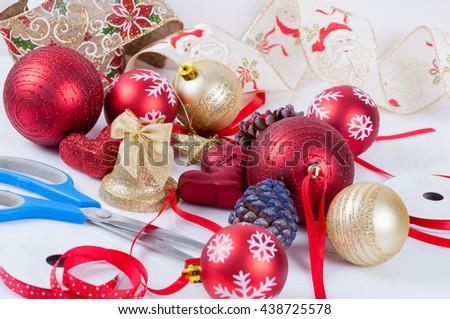 Christmas tree decorations/ Christmas balls ,ornaments , ribbons for Christmas tree. - stock photo