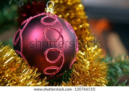 Christmas tree decorations in  interior with  fireplace - stock photo