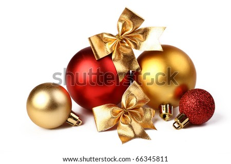 Christmas-tree decorations on a white background - stock photo