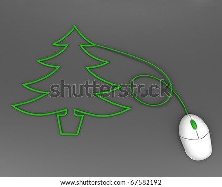 christmas tree depicted with computer mouse cable over grey - stock photo