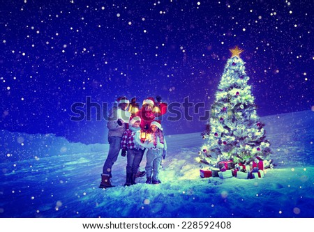 Christmas Tree Family Carol Snow Concept - stock photo