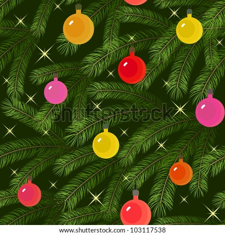 Christmas tree fir branch decorated seamless - stock photo