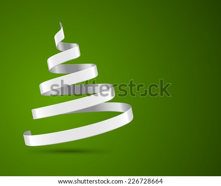 Christmas tree from ribbon vector background. Christmas card or invitation. Raster version. - stock photo