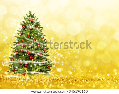 Christmas tree from the xmas lights (play with the light). Gold bokeh background - stock photo