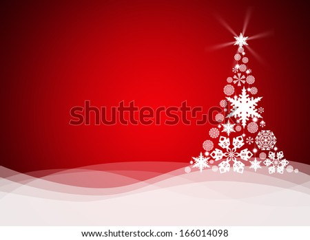 Christmas tree from white snowflakes on red background - stock photo