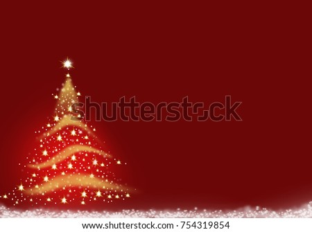 Christmas Tree gold yellow formed from stars text,red background snow illustration light abstract wallpaper