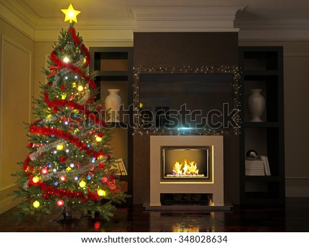 Christmas tree in a luxurious interior with fireplace and TV - stock photo