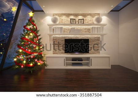 Christmas tree in a luxurious interior with TV unit - stock photo