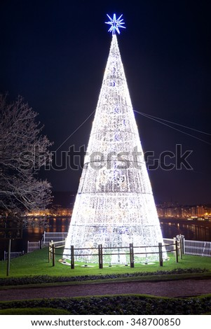 Christmas tree in Donostia. View from Miramar Palace. Donostia. - stock photo