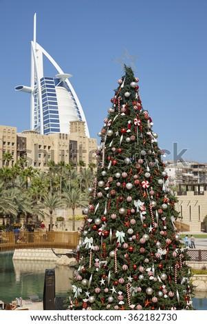 Christmas tree in Dubai, United Arab Emirates - stock photo
