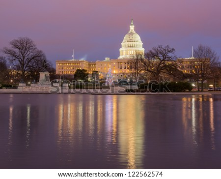 Christmas tree in early evening as sun setting over Washington DC - stock photo