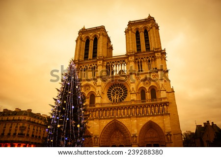 Christmas tree in front of the Notre Dame cathedral in the evening. Paris, France. Aged photo. - stock photo