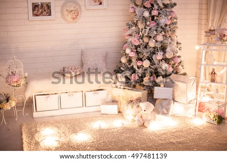 Christmas Tree Pink Shabby Chic Style Stock Photo (Royalty Free ...