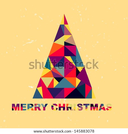 Christmas tree in retro style of the pieces of fabric  - stock photo