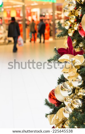 christmas tree in shopping mall - stock photo