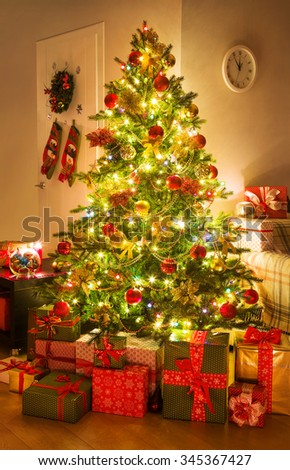 Christmas tree in the home interior