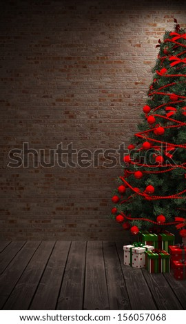 Christmas tree in the interior - stock photo