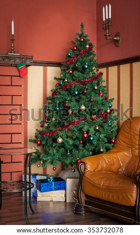 Christmas tree in the interior with gifts