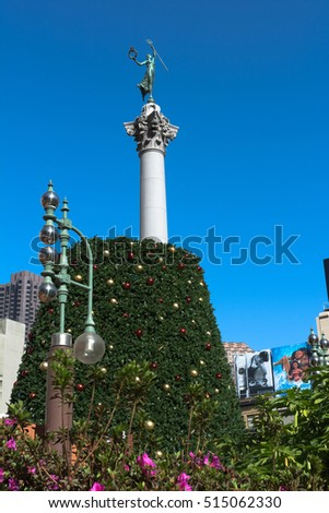 Christmas Tree In The Making At Union Square San Francisco San Francisco  California
