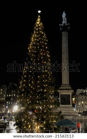 Christmas Tree in Trafalgar Square given to the people of London by the city of Oslo in gratitude for Britain's assistance to Norway during World War II. Lit on 4th December 2008.