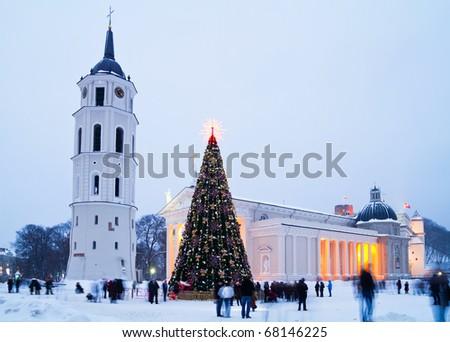 Christmas tree in Vilnius - stock photo
