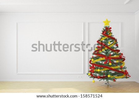 Christmas tree in white room with copy space - stock photo