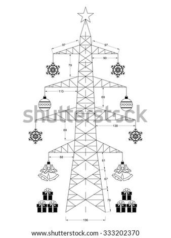 Christmas tree isolated - blueprint  - stock photo