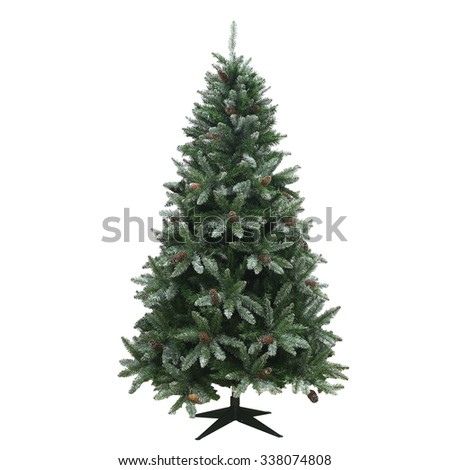christmas tree isolated on a white background - stock photo