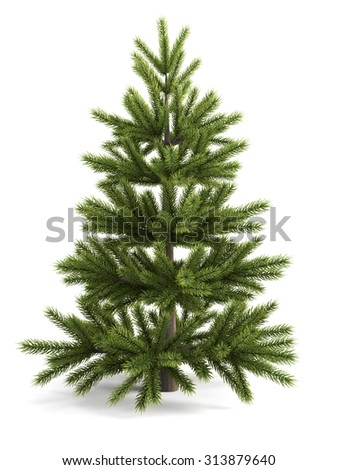 Christmas tree isolated on white background. Christmas tree to decorate. 3d illustration. - stock photo