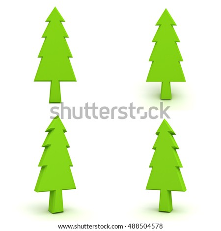 Christmas tree isolated on white background for christmas decoration. 3D rendering.