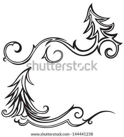Christmas tree isolated on white background. Raster version - stock photo