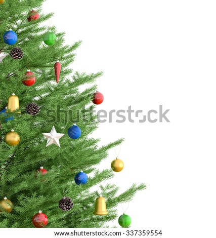 Christmas tree isolated over white 3d rendering - stock photo