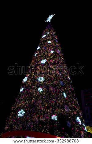 Christmas tree,lights,blur,background