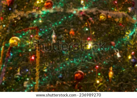 Christmas tree, lights, lights and toys, blurred abstract background