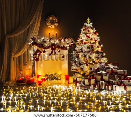 Christmas Tree Lights Room Interior, Decorated Xmas Fireplace and Presents in Magic Lighting Night