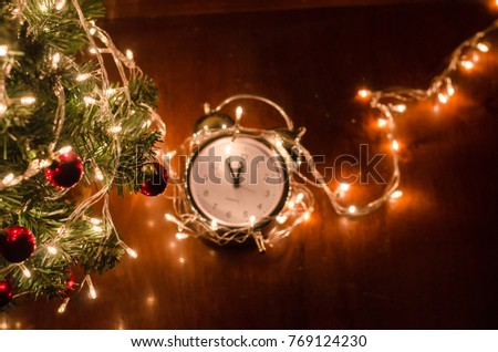 Christmas tree, lights, watches