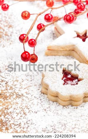 Christmas Tree Linzer cookie  - stock photo