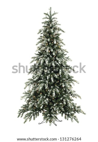 Christmas tree lit with snow - stock photo