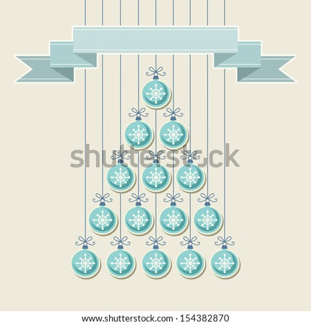 Christmas tree made from blue balls with snowflakes and banner. Original holiday invitation, greeting card. Vintage winter light background. Abstract drawing decorative illustration for print, web