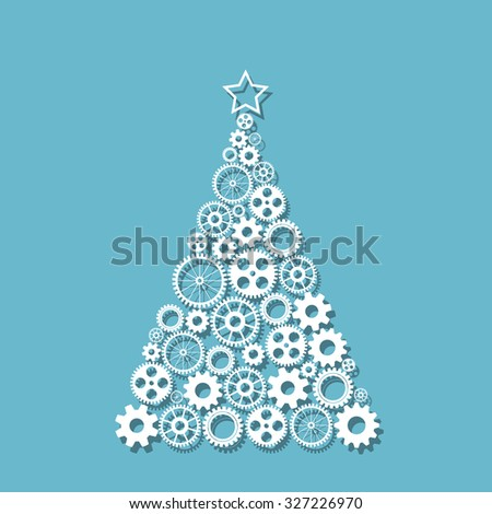 Christmas tree made from gears se - stock photo