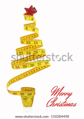 Christmas tree made from measure tape  - stock photo