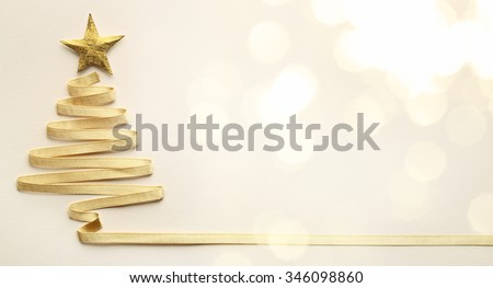 Christmas tree made from ribbon - stock photo